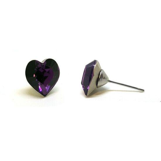 Jazzy Swarovski® kristályos fülbevaló - Nagy szív, Amethyst