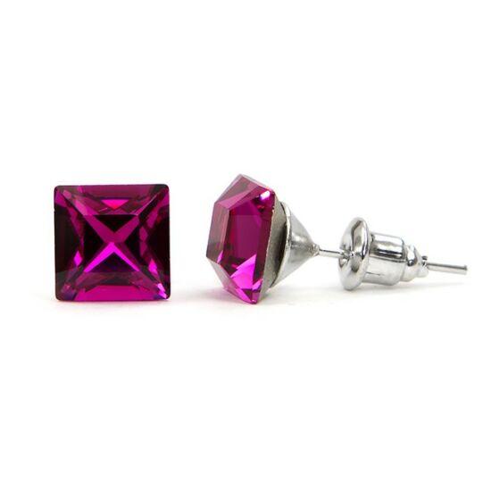 Jazzy SWAROVSKI® kristályos fülbevaló - Négyzet Pink