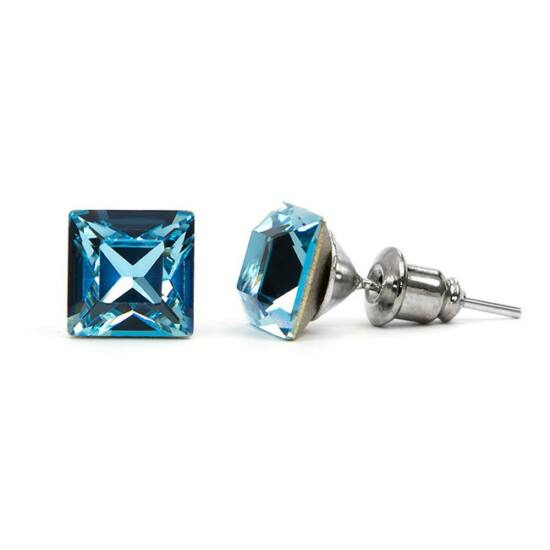 Jazzy SWAROVSKI® kristályos fülbevaló - Négyzet Világos Kék