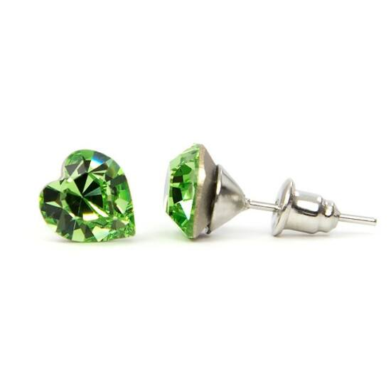 Jazzy SWAROVSKI® kristályos fülbevaló - Szív Zöld