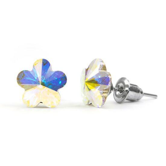 Jazzy Swarovski® kristályos fülbevaló - Virág, Crystal AB