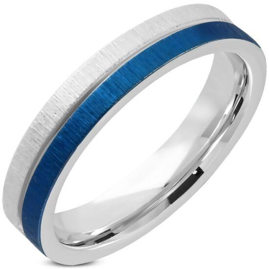 Kék és ezüst színű nemesacél gyűrű