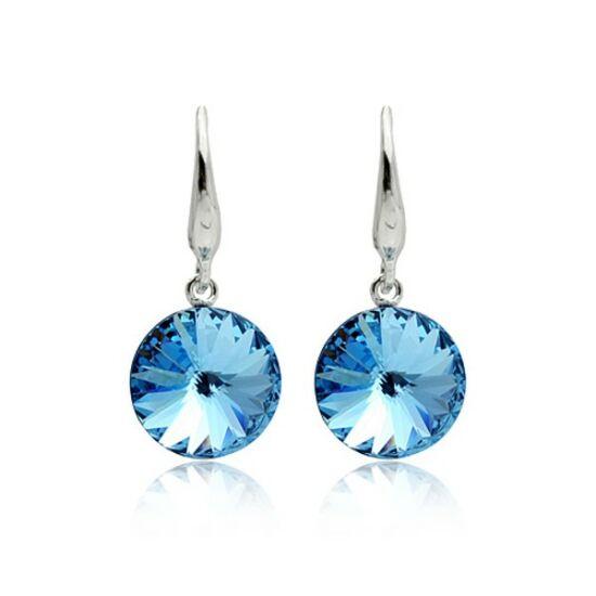 Kék Swarovski kristályos fülbevaló-002