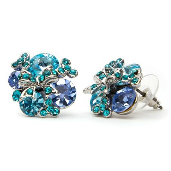 Kék Swarovski kristályos fülbevaló-456