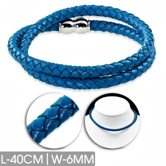 Kék színű fonott bőr karkötő vagy nyaklánc, nemesacél dísszel