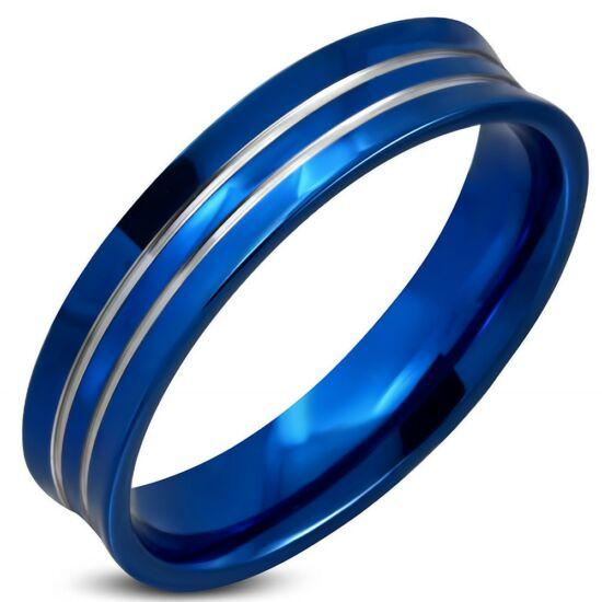 Kék színű nemesacél gyűrű, ezüst színű barázdával