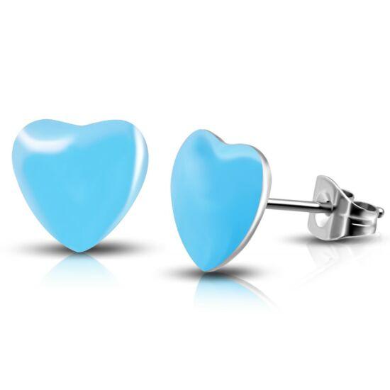 Kék színű, szív alakú nemesacél fülbevaló ékszer
