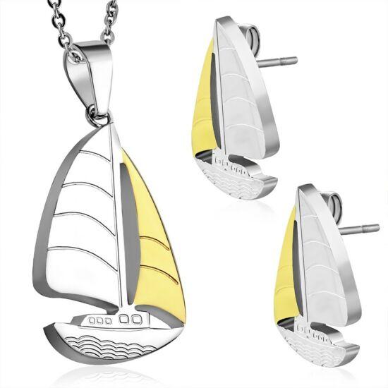 Két színű nemesacél vitorláshajó szett - fülbevaló és medál