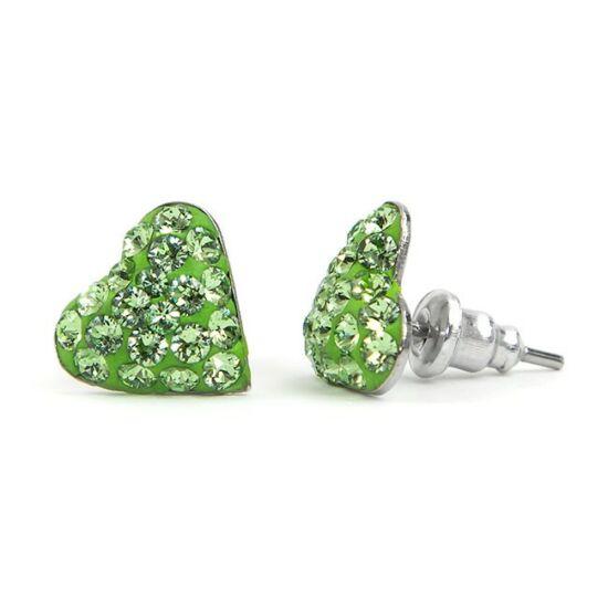 Kicsi szíves Swarovski® kristályos nemesacél fülbevaló - Peridot