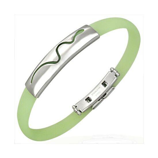 Kígyó mintás kaucsuk karkötő ékszer zöld