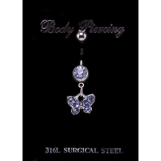 Kis pillangós nemesacél piercing kék