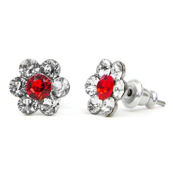 Kis virágos Swarovski® kristályos nemesacél fülbevaló - fehér-piros