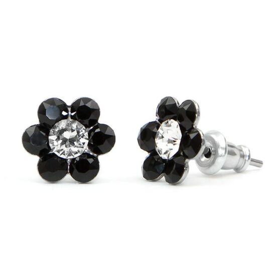 Kis virágos Swarovski® kristályos nemesacél fülbevaló - fekete-fehér