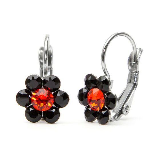 Kis virágos Swarovski® kristályos nemesacél fülbevaló - fekete-piros