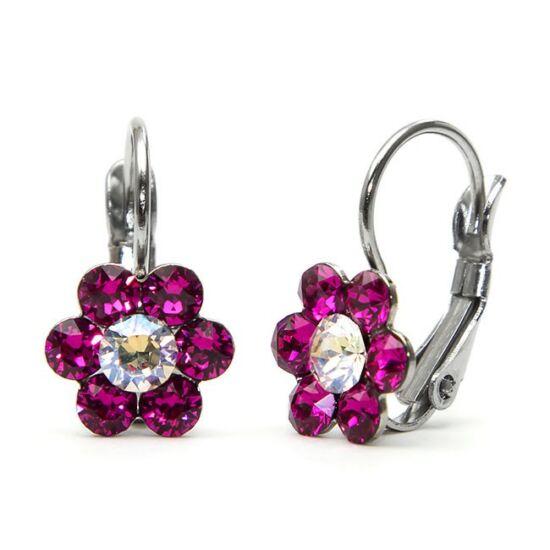 Kis virágos Swarovski® kristályos nemesacél fülbevaló - Fuchsia
