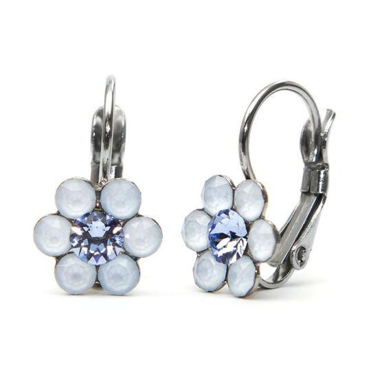 Kis virágos Swarovski® kristályos nemesacél fülbevaló - kék
