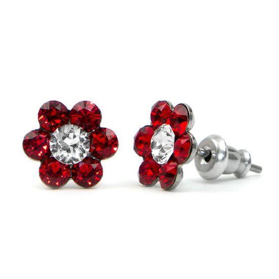 Kis virágos Swarovski® kristályos nemesacél fülbevaló - piros