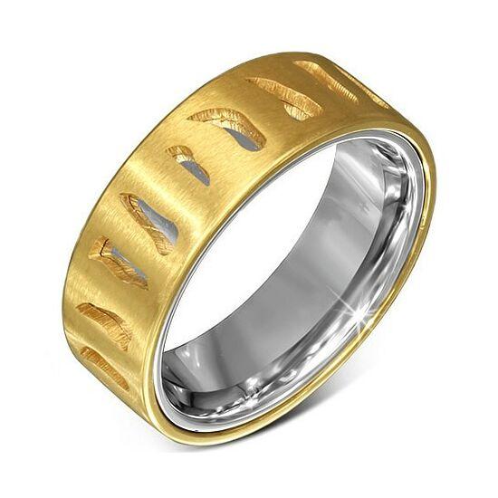 Kivágott, arany és ezüst színű nemesacél gyűrű ékszer