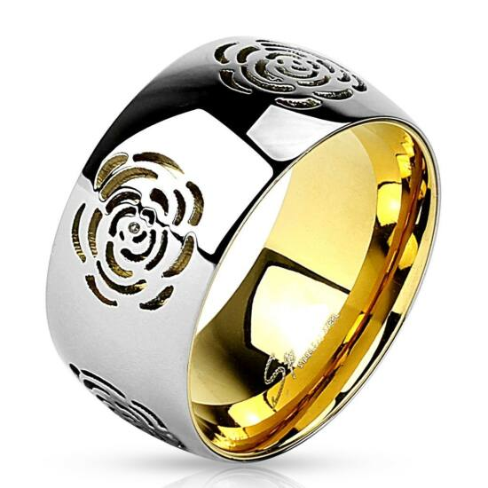 Kivágott, virág mintázatú két színű, széles nemesacél gyűrű ékszer