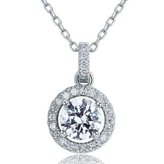 Kör alakú gyémánt nyaklánc - 925 ezüst ékszer