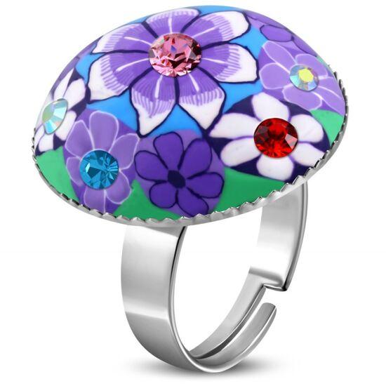 Kör alakú, lila virág mintás állítható nemesacél gyűrű ékszer cirkónia kristállyal