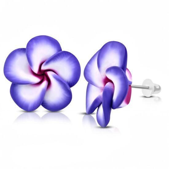 Lila pluméria virág fülbevaló
