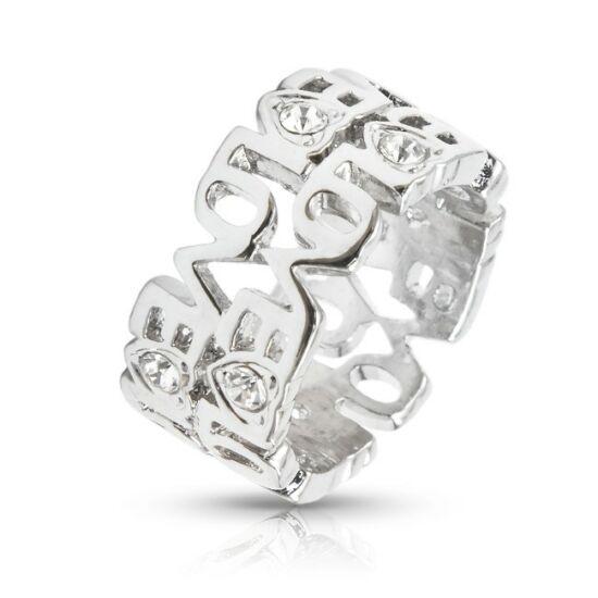 LOVE feliratos gyűrű Swarovski kristállyal-6