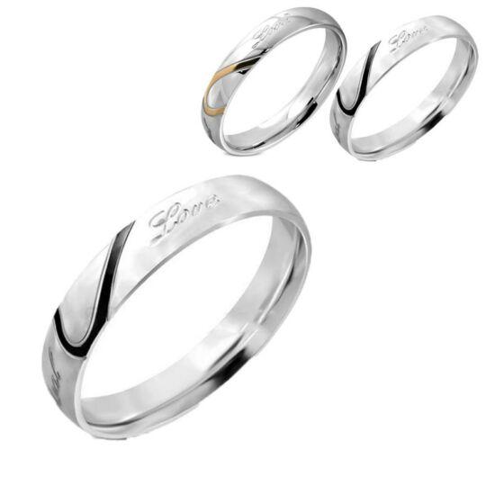 Love feliratú nemesacél gyűrű fekete díszcsíkkal-12
