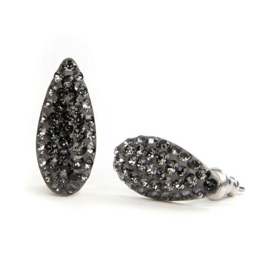 Mandula Swarovski® kristályos nemesacél fülbevaló - Silver Night