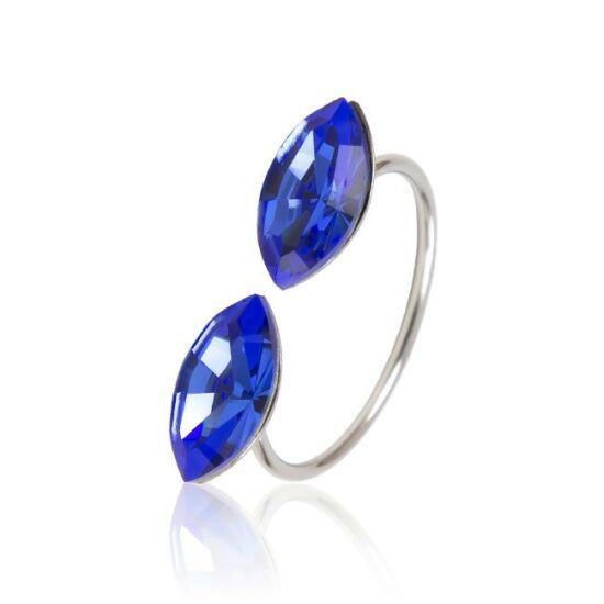 Marquise Swarovski® kristályos nemesacél gyűrű - Capri Blue