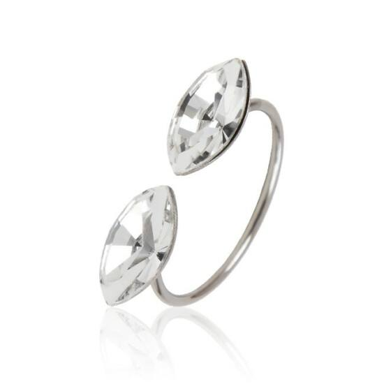 Marquise Swarovski® kristályos nemesacél gyűrű - Crystal