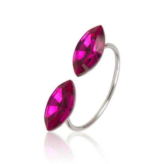 Marquise Swarovski® kristályos nemesacél gyűrű - Fuchsia