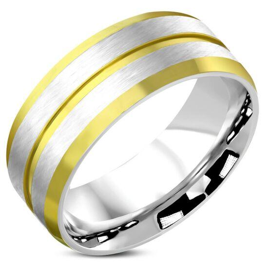 Matt, kétszínű nemesacél karikagyűrű-7,5