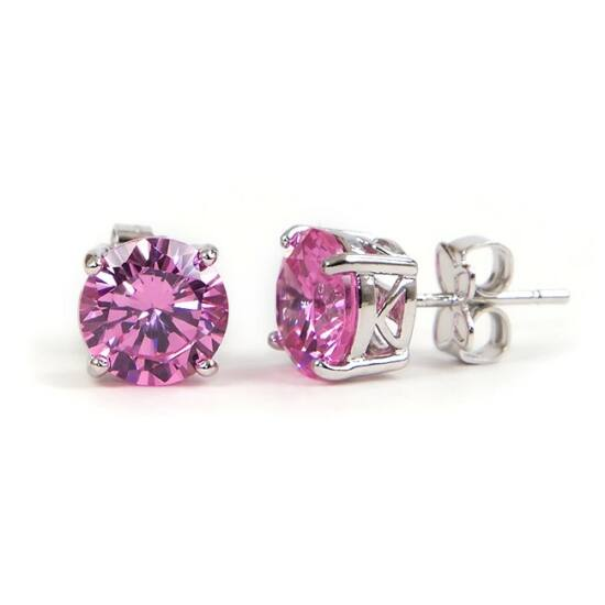 Melody Swarovski kristályos fülbevaló - Kerek Pink