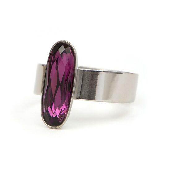 Moody Swarovski® kristályos nemesacél gyűrű - Amethyst