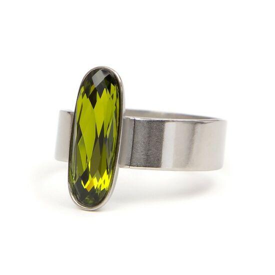 Moody Swarovski® kristályos nemesacél gyűrű - Olive