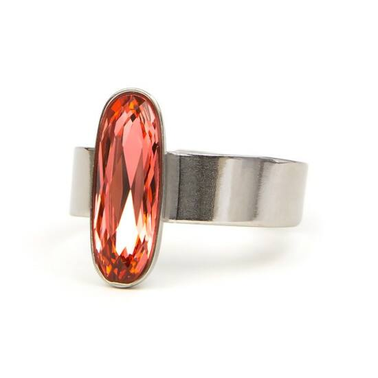Moody Swarovski® kristályos nemesacél gyűrű - Padparadscha