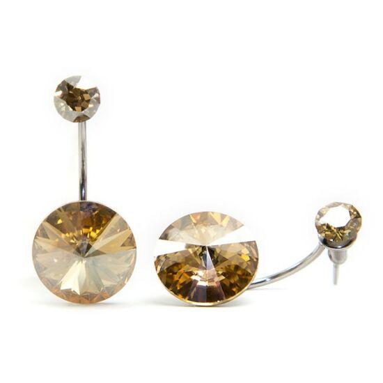 Moon Swarovski® kristályos nemesacél fülbevaló - Golden Shadow