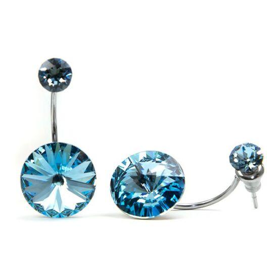 Moon Swarovski® kristályos nemesacél fülbevaló - Light Sapphire