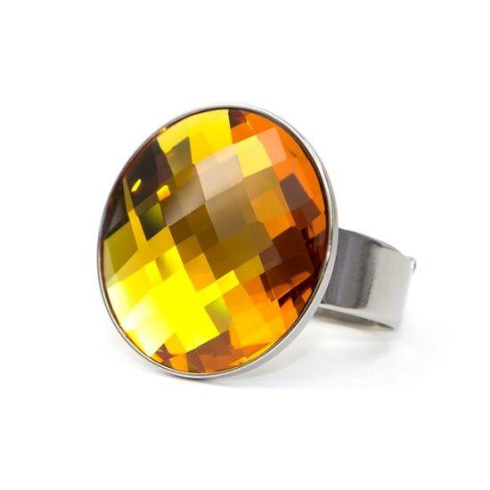 Moon Swarovski® kristályos nemesacél gyűrű - Golden Shadow
