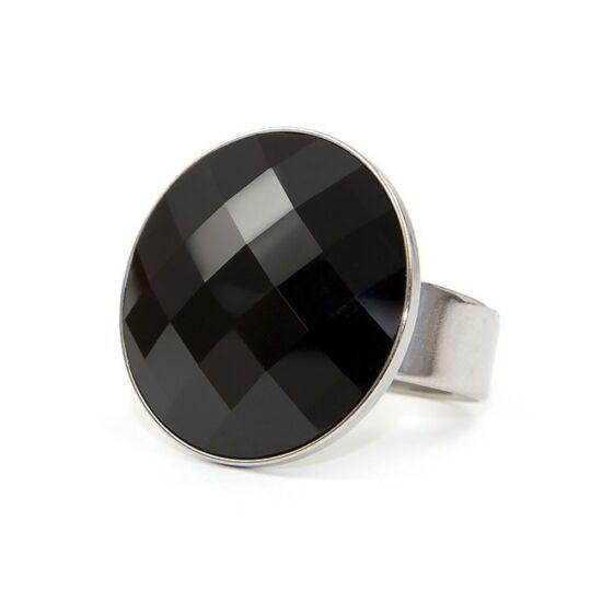 Moon Swarovski® kristályos nemesacél gyűrű - Jet