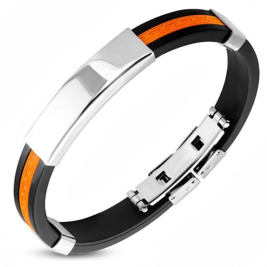Narancssárga és fekete színű, gravírozható kaucsuk karkötő ékszer