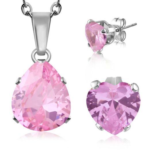 Nemesacél ékszerszett rózsaszín, csepp alakú cirkónia kővel - nyaklánc és fülbevaló