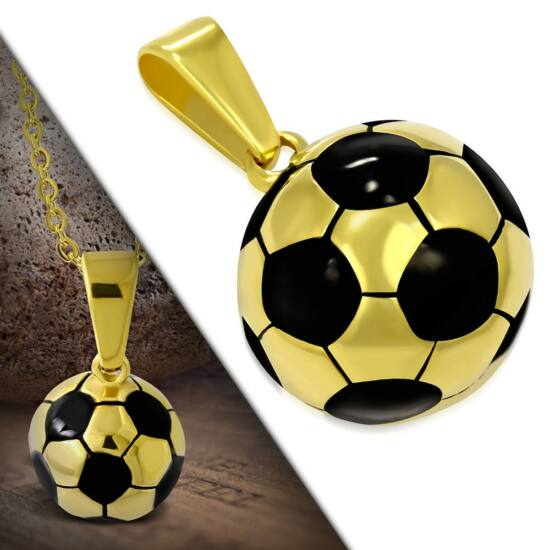 Nemesacél focilabda medál, arany színű