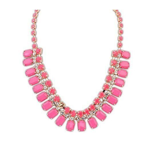Neon pink kristályos statement nyaklánc