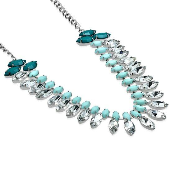 Nyaklánc gyönyörű ovális alakú kristályokkal