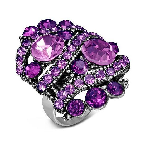 Ovális, állítható nemesacél gyűrű ékszer, lila cirkónia kristállyal