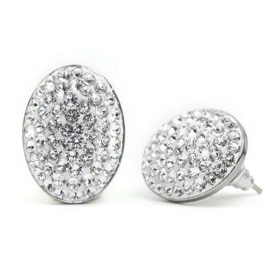 Ovális Swarovski® kristályos nemesacél fülbevaló - Crystal