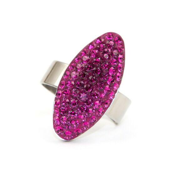 Ovális Swarovski® kristályos nemesacél gyűrű - Fuchsia
