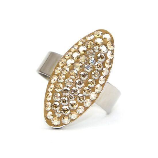 Ovális Swarovski® kristályos nemesacél gyűrű - Golden Shadow